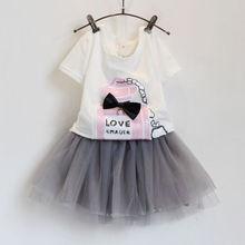 [Zero.] #K-38 baby kids Perfume printed clothing set tutu dress set baby girl children clothes set shirt+skirt set height