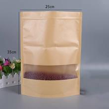 กระดาษคราฟท์กระเป๋าซิปล็อคกระเป๋าหน้าต่างของขวัญถุงชาบรรจุภัณฑ์อาหาร Stand Up ซิปซิป Kraft กระเป๋...(China)