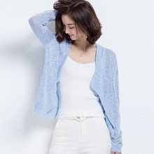 Cotton Linen Knitted Cardigan Summer New Arrival Quality Brand Design One Plus Size Home Casual Long Sleeves Women Soft Top(China (Mainland))