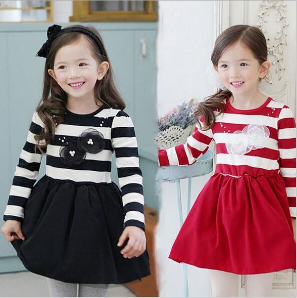 baby girls autumn winter bowknot dress chidlren stripe printing long sleeve dresses flower girl party dress JL-1283<br><br>Aliexpress