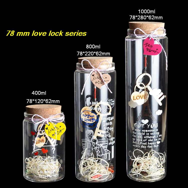 400ml/800ml/1000ml glass bottle with cork love lock wishing bottle luck drift bottle Creative Decorative Vials screen printing(China (Mainland))