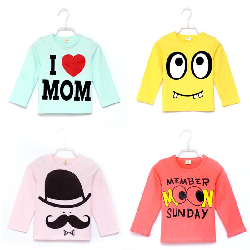Drop Shipping Retail I Love Papa Mama Baby T-shirt Girls Boys Children Clothes For autumn Winter T Shirt Free Shipping(China (Mainland))