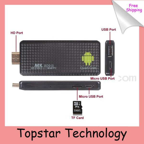 2014 Quad Core RK3188 Android Mini PC MK809III 4.4.2 KitKat 2G/8G 1.6GHz Bluetooth Wifi XBMC Google TV Player MK809 iii - Shenzhen TopStar Technology Co., Ltd. store