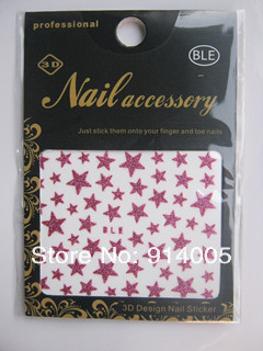 MIXED 10 colors glitte star nail sticker mixed with detail package nail decal design