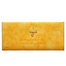 Women Wallets Fashion Trends Multi-card Wallet Lady Long Purse Matte Nubuck Leather Umbrella Pattern
