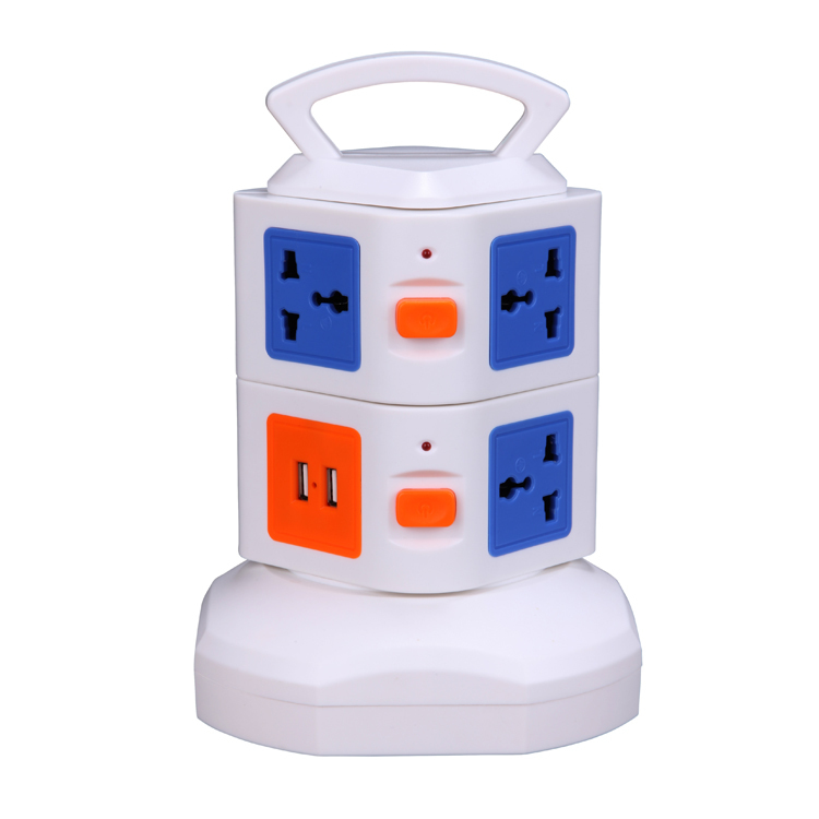 Multi Vertical 7 Socket Power Strip Smart Electronic Outlet 2 USB Output Ports 5V 2.1A with Power Switch Retractable Power Cords(China (Mainland))