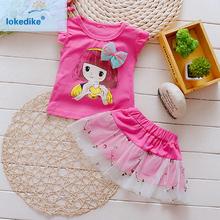 Wholesale Baby Girl Clothes Summer 2016 New Toddler Girls Clothing Set Boutique Kids Girls Dress Dresses T-shirt+Skirt T530