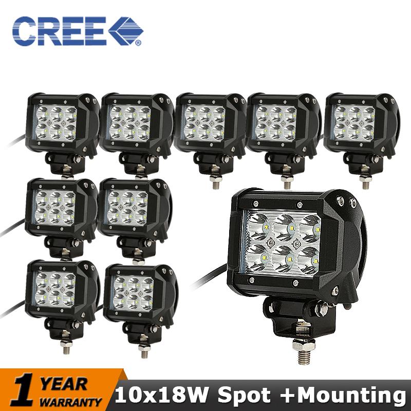 10pcs CREE 18W LED Work Light Spot Beam12V 24V Truck Motorcycle SUV ATV 4WD 4x4 Offroad Led Driving Light Bar Fog Lamp(China (Mainland))