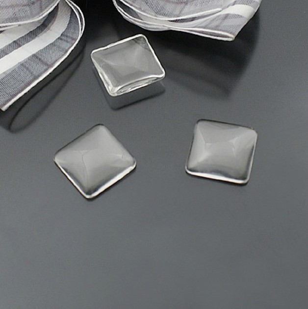25pcs/lot 12MM Square Flat Back Clear Glass Cabochon, High Quality, Lose Money Promotion!!!(T-06)<br><br>Aliexpress