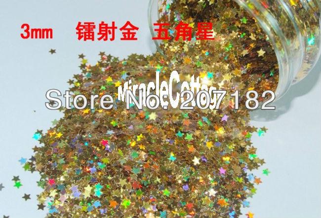 500g 3.0mm Gold Color Star Shape PET Flash Powder, Laser Powder, Glitter Powder, Nail Glitter(China (Mainland))