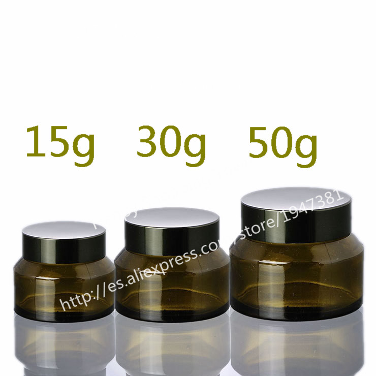 Free Shipping 50g green glass jars, 50ml cream jars, skin care cream bottles, dark glass cosmetic containers