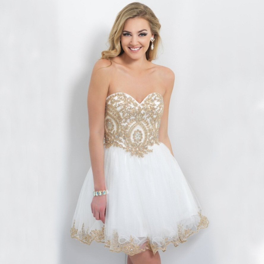 Blue And Gold Short Prom Dresses Fashion