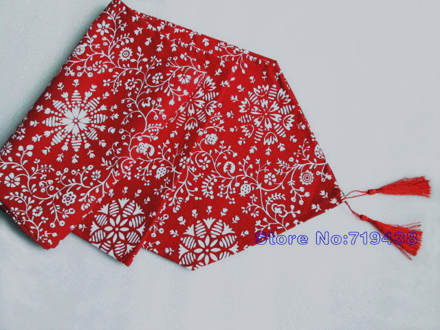 Christmas Decorations Dark Red Canvas White Snowflake Table Runner/Tablecloth(6 sizes)(China (Mainland))