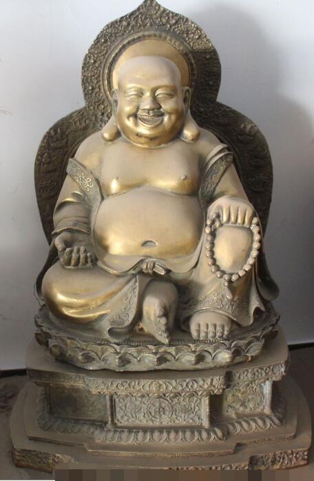 """S5139 20"""" China Buddhism Bronze 8 Auspicious Symbol Happy Laugh Maitreya Buddha Statue(China (Mainland))"""