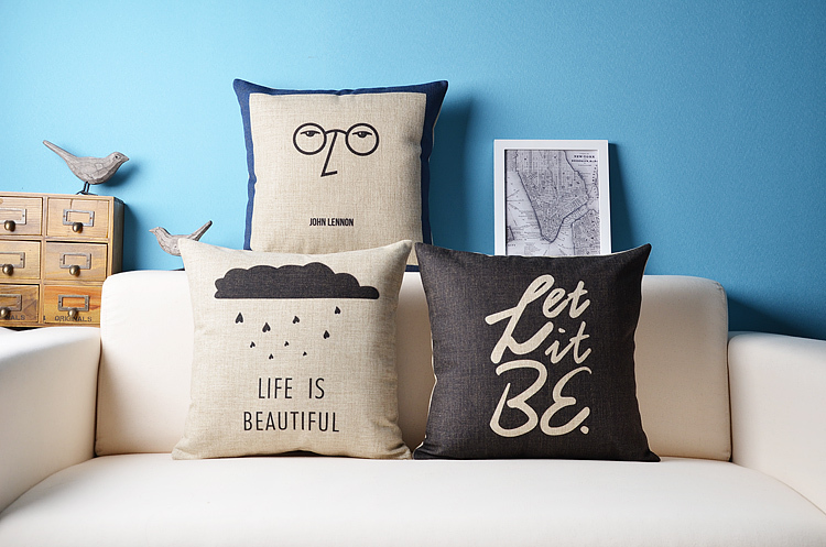British Beatles-style office sofa Decorate pillows cafe cotton pillow cover Hold cushion - ninety one store