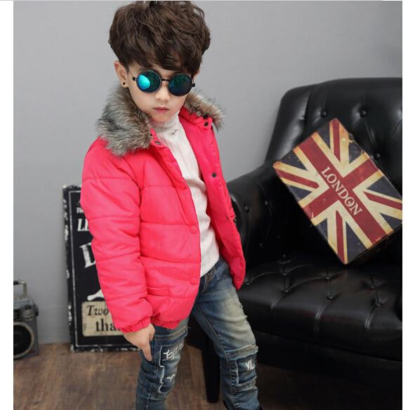 Скидки на Горячая! 2016 новый зимний мода мальчик C с плотной хлопчатобумажной зимние-мягкие одежды нагрудные молния без подкладки верхней одежды мода меховой воротник