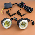 Car Styling COB LED Foglights Projector Lens Driving Lamps With Angel Eyes Halo DRL Daytime Running