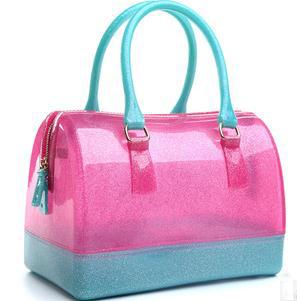 Free Shipping New Design Fur Candy Handbags La Wholesale Women Handbags Women Fashion Candy Jelly Handbags H0580(China (Mainland))