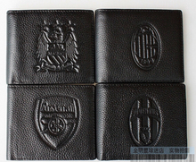 Football genuine leather Wallets 11 Team available Arsenal AC Milan Juventus Inter Milan Man City Football Purses(China (Mainland))