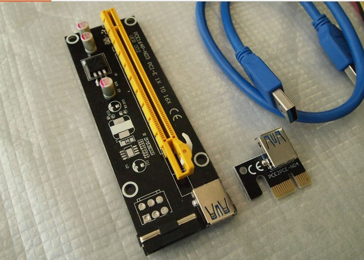 10pcs Pci-e PCIe Pci Express 1x to 16x Riser Card USB 3.0 Extender Cable with Sata to IDE 4Pin Molex Power Supply for BTC Miner(China (Mainland))