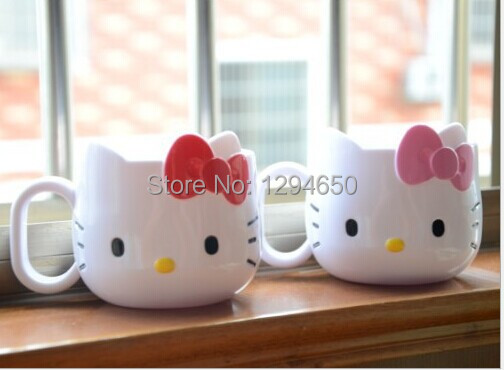 Free Shipping 2Pcs Fashion Hello Kitty Cartoon Plastic Coffee Mug Cup Tooth Mug Tooth-Brushing Cup Children's Mug Wholesale(China (Mainland))
