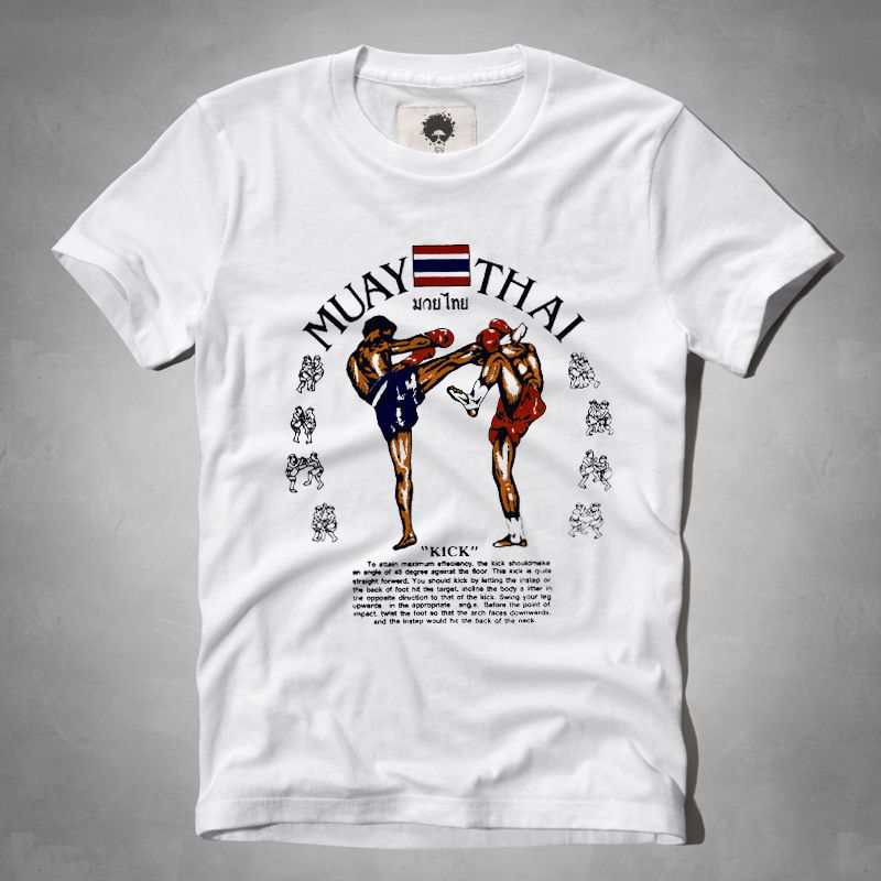 Muay thai sanda fighting hot sale summer male print o neck for T shirt printing thailand