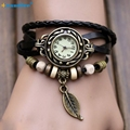Hcandice Hot Selling Womens Bracelet Vintage Weave Wrap Quartz Leather Leaf Beads Wrist Watches Gift 1pcs