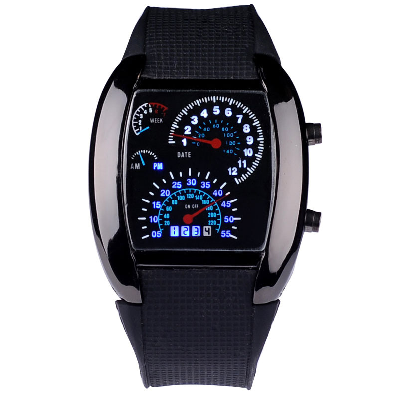 Relogio Masculino Men Sports Watches Fashion Design Race Speed Car Dot Blue Led Digital Watches Rubber Strap Electronic Watch(China (Mainland))