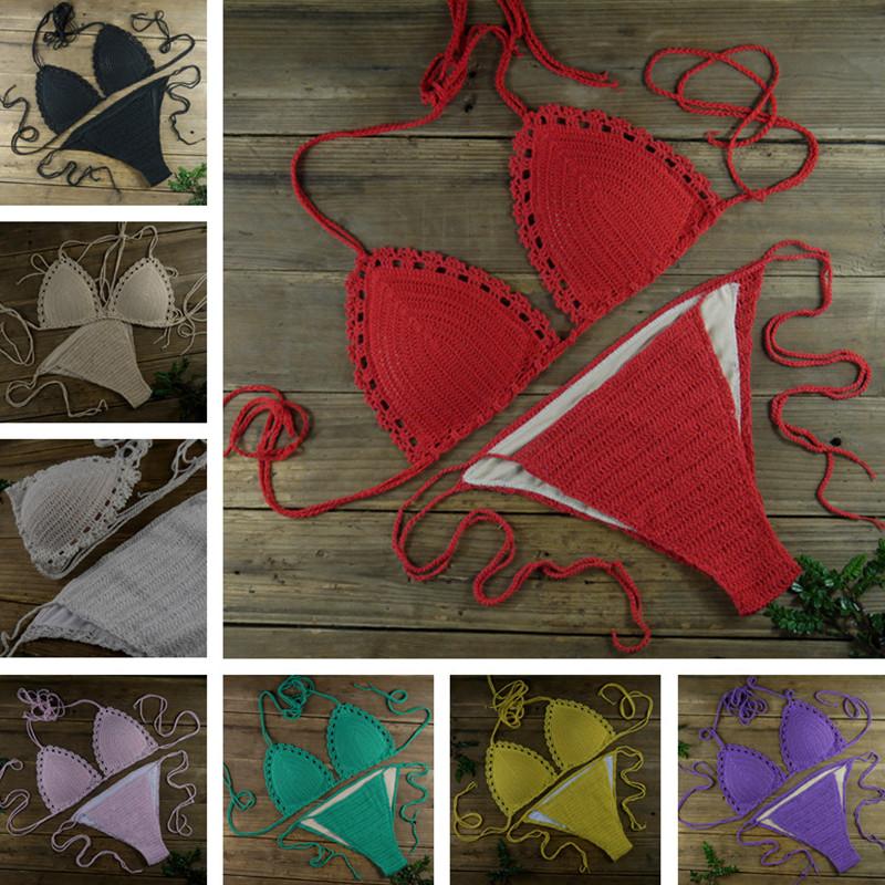 Bright Red Sexy Handmade crochet bikini set, Tops Bottom, beach, swimming pools, spas yacht bikini custom colors(China (Mainland))