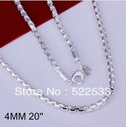 Italina female accessories Trend personality male models circle grid necklace sterling silver plated green copper jewelry NL189
