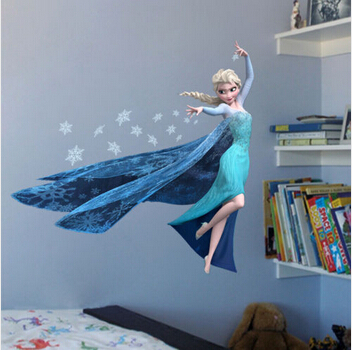 QUEEN ELSA Princess Decal Removable WALL Stickers Kids Home Decor DIY Removable 3D Stickers Adesivos Sticker On the Wall(China (Mainland))