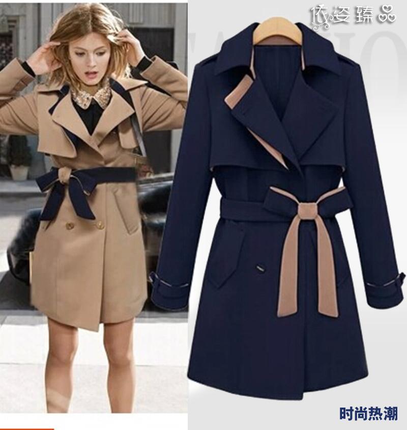 Winter coat women slim trench british style double breasted medium-long trench coate plus size office dress desigual women coat(China (Mainland))