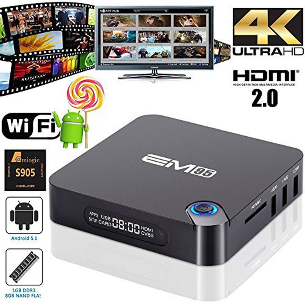 2016 Streaming Media Players EM95 Android TV Box Amlogic S905 Quad Core Android 5.1 DDR3 1G Flash 8G HDMI 2.0 WIFI 4K 1080p Kodi(China (Mainland))