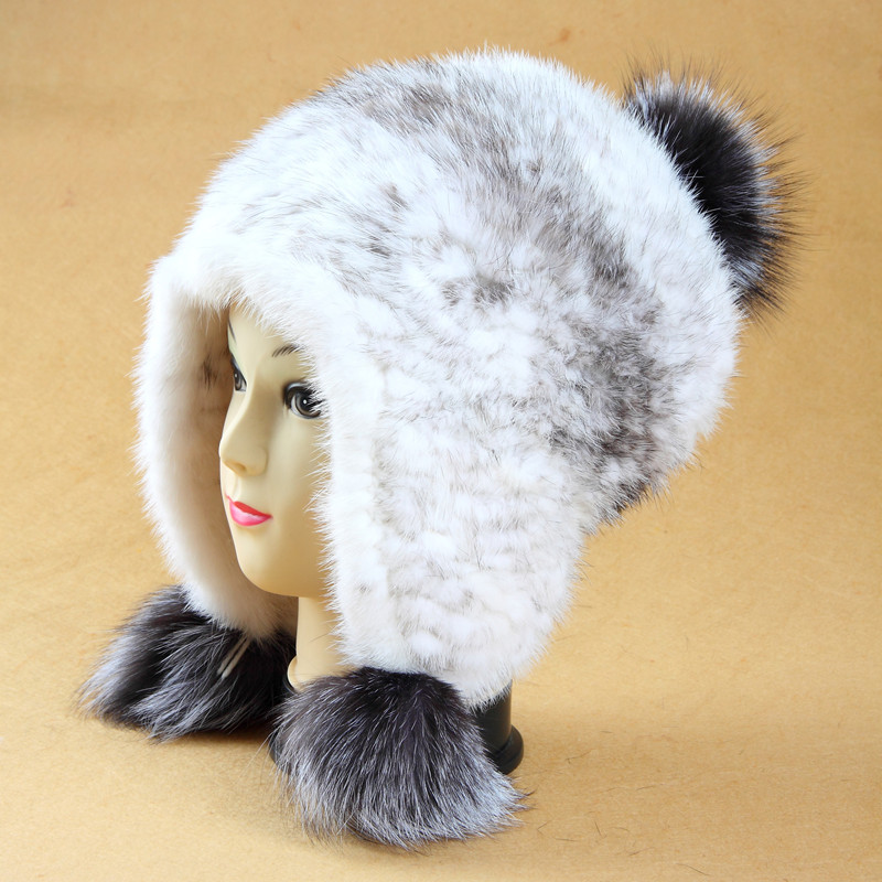 2016 autumn and winter Brands Top luxury women's mink fur handmade knitted hat ear protector cap skullies and beanies women(China (Mainland))