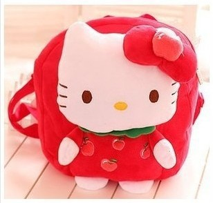 New Arrival Hello Kitty Fruit Series Plush Child Kindergarten Kid's School Bag Backpack 27x24cm(China (Mainland))