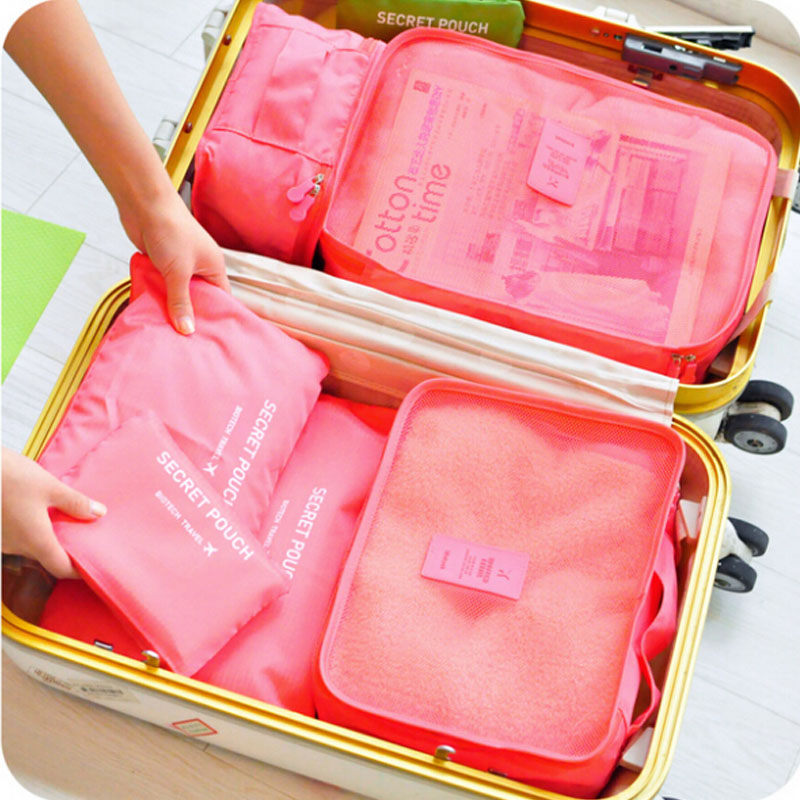 6pcs/set Korean travel Storage Boxes included bags waterproof business luggage bag clothing underwear finishing A01-3-011(China (Mainland))