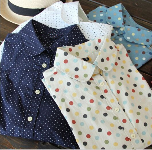 Гаджет  New 2014 Women Long Sleeve Blouse Polka Dot Shirts Cotton Made Slim Fit Design Seven Colors Four Sizes Button Through Front  None Одежда и аксессуары