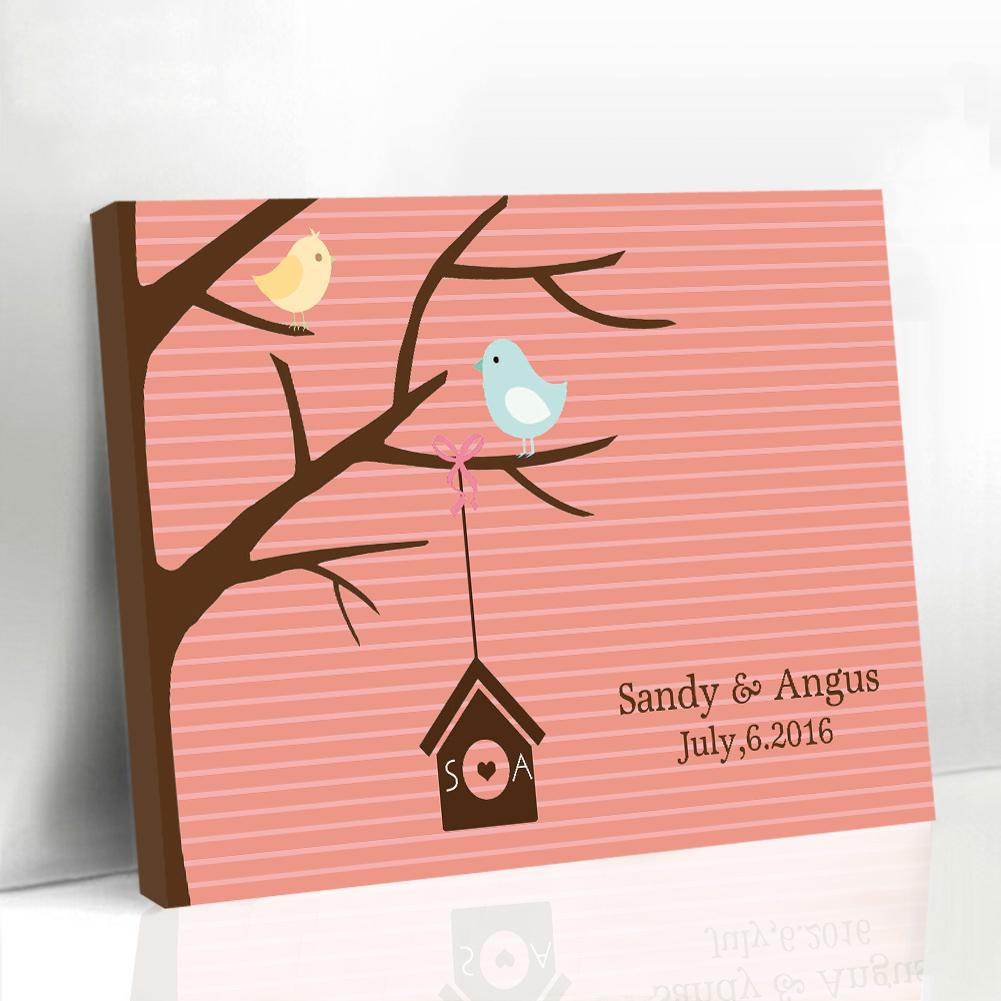 Framed Wedding Guestbook Alternatives Baby Guest Book Canvas Fingerprint Tree Baby Shower Custom Canvas Printing Supplies(China (Mainland))
