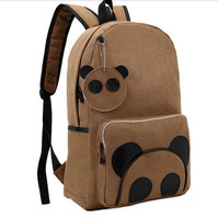 1pcs/lot free shipping Winter Vintage Faux Suede Panda Backpack Teenagers High Quality animal big School bag Student Unisex