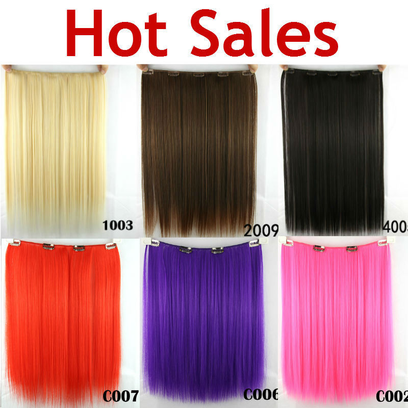 5 Clips Heat Resistant Fiber Synthetic Clip in Hair Extensions Straight Colorful More Colors Womens High Temperature Hairpiece(China (Mainland))