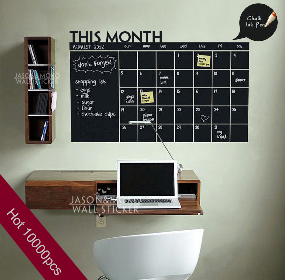 2015 Home Decoration Diy Monthly chalkboard calendar Vinyl Wall Decal Removable Planner wallpaper vinyl Wall Stickers 60*92CM(China (Mainland))