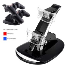 Black LED Light Quick Dual USB Charging Dock Stand Charger For PlayStation 3 For PS3 Controller Console(China (Mainland))