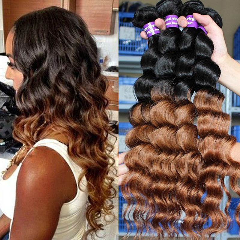 Ombre hair extensions 100% 6A malaysian virgin hair loose wave rosa hair products 3pcs Two Tone 1b/30 ombre human hair weaves(China (Mainland))