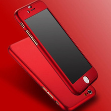 New Hybrid PC Hard Dropproof Metal Feeling Case 360 Full Body Cover + Tempered Glass For Capinha iPhone 6 6s Plus iPhone6 Cases