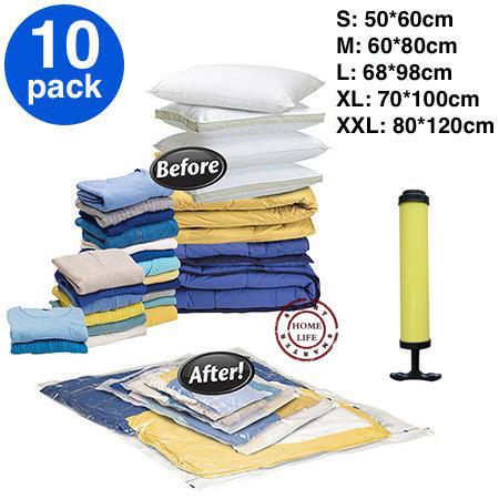 FREE SHIPPING! 10 pieces of vacuum storage bag plus 1 pc of hand air pump, Space saving bag for clothing and bedding(China (Mainland))