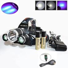 Super Bright Ultraviolet 5000 Lumen T6+2R5 UV LED Headlight Headlamp Flashlight Head Lamp+Ac/Car/Usb Charger+2*18650 Battery