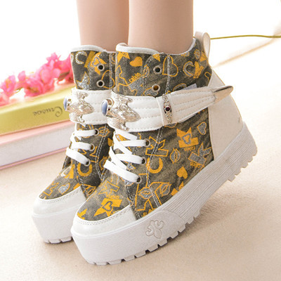 2015 NEW Fashion Women Ankle Boot Platform Cowboy Boots High Flat Ladies Shoes Sneakers Winter Boots Size 35-40 Creepers DX171(China (Mainland))