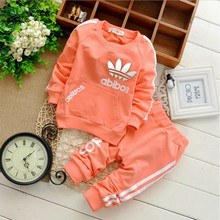 retail 2-5yrs 2015 New cotton spring children baby boys girls autumn spring 2pcs clothing set suit baby shirt+pants sets(China (Mainland))