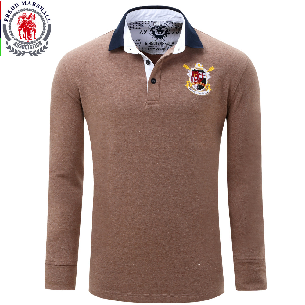 Europe size new brand men 39 s solid long sleeve polo shirt for Longer length mens polo shirts