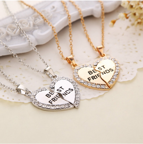 Charming Splice Heart Pendant Best Friend Letter Necklace Women Gifts 2 Color Pick Jewelry Free Shipping(China (Mainland))